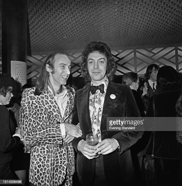 Actor and songwriter Richard O'Brien with actor and singer Tim Curry, his co-star in the stage musical 'The Rocky Horror Show', at the Evening...