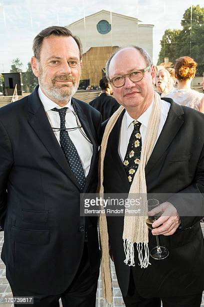 Actor and stage director Jerome Deschamps and landscaper Louis Benech attend the dinner of Conseil des Grand Crus Classes of 1855 hosted by Chateau...