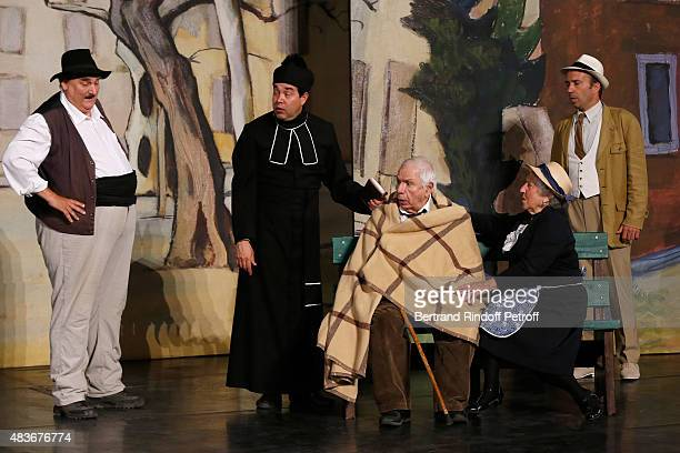 Actor and Stage Director of the piece Jean-Claude Baudracco, Actors Philippe Sablayrolles, Michel Galabru, Andree Damant and other actor perform in...