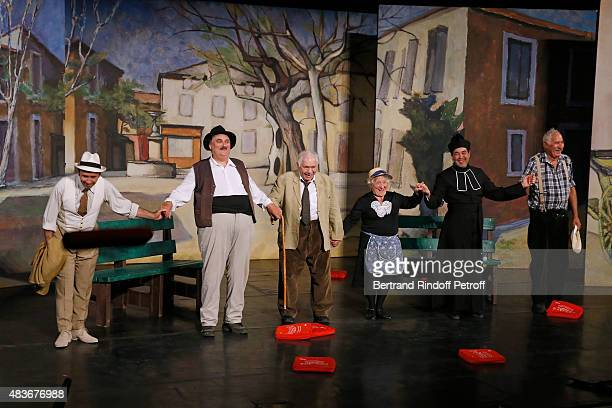 Actor and Stage Director of the piece JeanClaude Baudracco Michel Galabru Andree Damant Philippe Sablayrolles and Bernard Larmande acknowledge the...