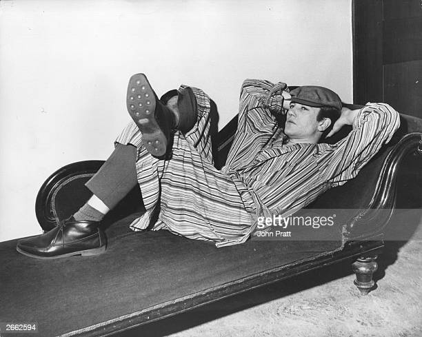 Actor and star of 'Billy Liar' Albert Finney relaxes in a theatre dressing room Original Publication People Disc HD0088