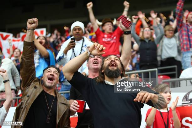 Actor and star of the movie Aquaman Jason Mamoa cheers on Team Canada as they play Scotland during day 2 of the 2019 Canada Sevens Rugby Tournament...