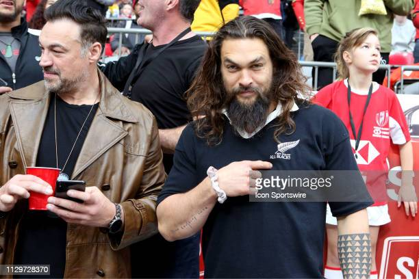Actor and star of the movie Aquaman Jason Mamoa poses for the camera and points at his New Zealand All Blacks tshirt during day 2 of the 2019 Canada...