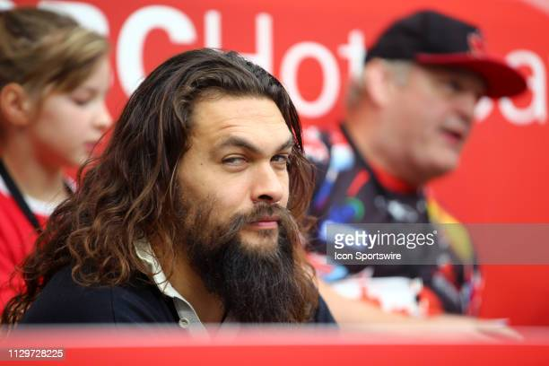 Actor and star of the movie Aquaman Jason Mamoa watches the action during day 2 of the 2019 Canada Sevens Rugby Tournament on March 10 2019 at BC...
