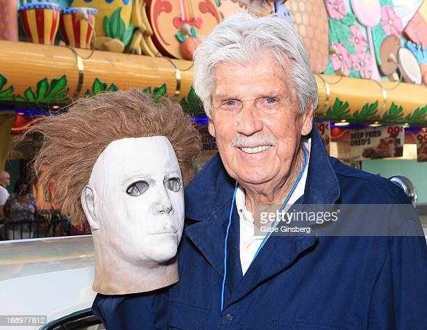 Actor and stuntman James Winburn arrives with a Michael Myers mask at the opening ceremony of Las Vegas Car Stars at the Fremont Street Experience on...