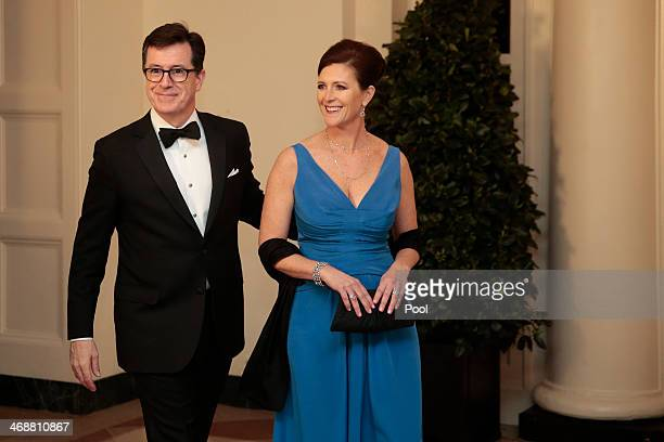 Actor and television host Stephen Colbert left and Evie Colbert arrive to a state dinner hosted by US President Barack Obama and US first lady...