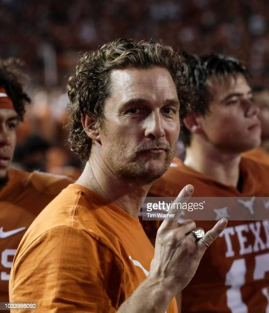 Actor and Texas fan Matthew McConaughey stands on the sideline during the game between the Texas Longhorns and the USC Trojans at Darrell K...