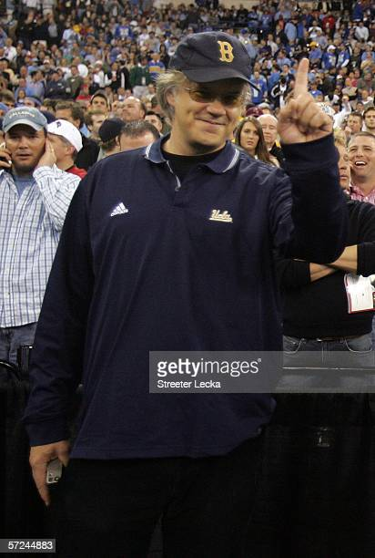Actor and UCLA alumni Tim Robbins cheers on his team against the Florida Gators during the National Championship game of the NCAA Men's Final Four on...