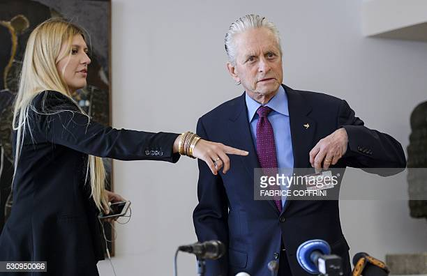 US actor and United Nations Messenger of Peace Michael Douglas arrives with International campaign to abolish Nuclear Weapons Executive Director...