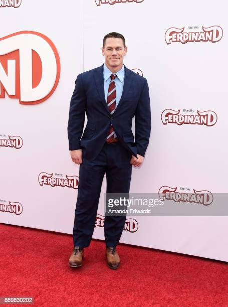 Actor and wrestler John Cena arrives at a screening of 20th Century Fox's 'Ferdinand' at the Zanuck Theater at 20th Century Fox Lot on December 10...
