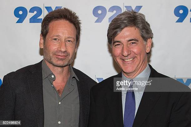 Actor and Writer David Duchovny and Television Host Budd Mishkin attend 92Y Talks at Kaufman Concert Hall on April 19, 2016 in New York City.
