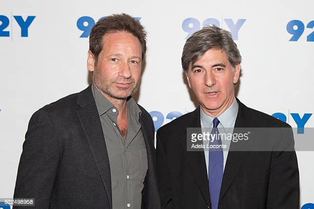 Actor and Writer David Duchovny and Television Host Budd Mishkin attend 92Y Talks at Kaufman Concert Hall on April 19 2016 in New York City