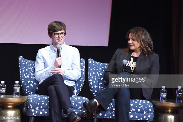 Actor and Writer Freddie Highmore and Executive Producer Kerry Ehrin speak at the Bates Motel event during aTVfest 2016 presented by SCAD on February...