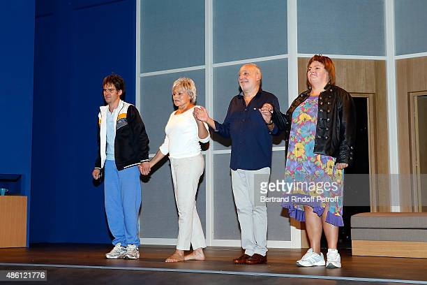 Actor and Writer Sebastien Thiery, Actress Muriel Robin, Actor Francois Berleand and Actress Ninie Lavallee perform during the 'Momo' Theater Play At...