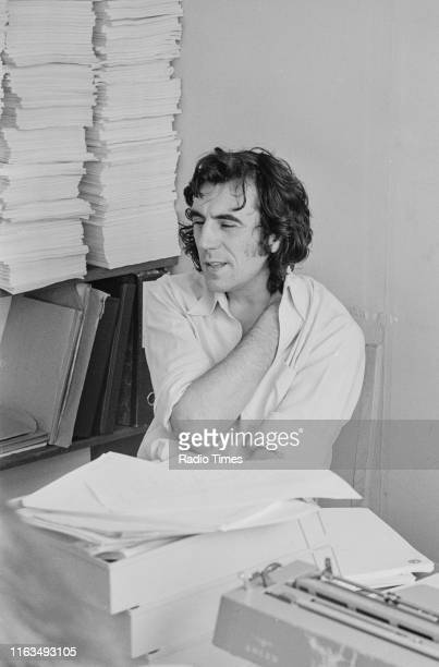 Actor and writer Terry Jones in a script conference for BBC television show 'Monty Python's Flying Circus' 1974