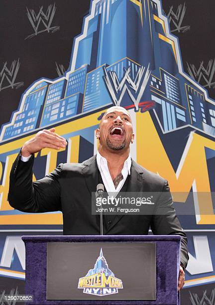 Actor and WWE Professional Wrestler Dwayne 'The Rock' Johnson attends a press conference to announce a major international event Wrestle Mania XXIX...