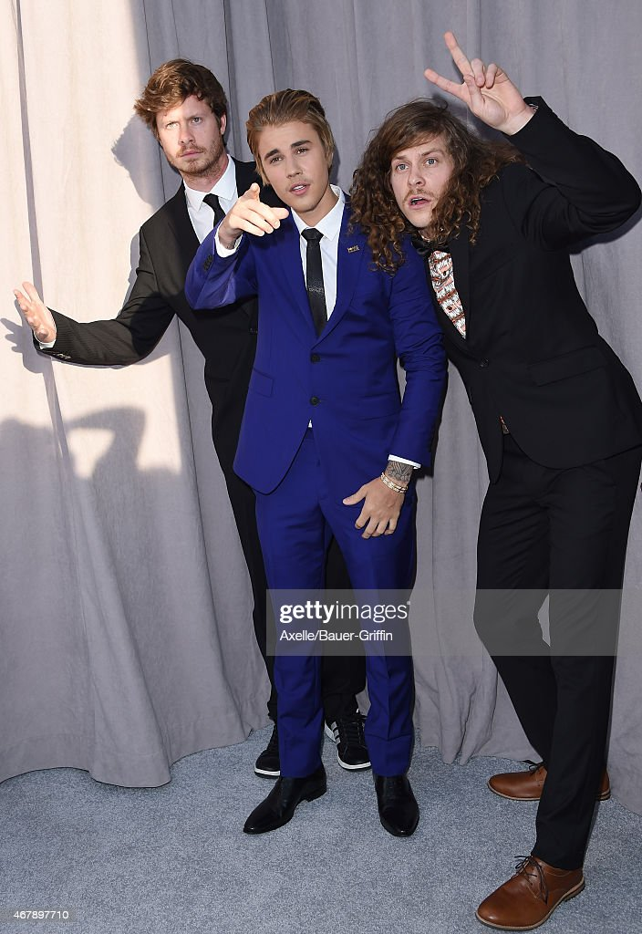 Actor Anders Holm, honoree Justin Bieber and actor Blake Anderson arrive at the Comedy Central Roast of Justin Bieber on March 14, 2015 in Los Angeles, California.