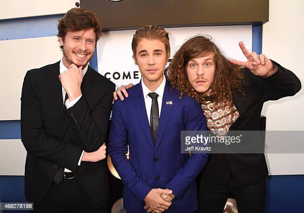 Actor Anders Holm, honoree Justin Bieber and actor Blake Anderson attend The Comedy Central Roast of Justin Bieber at Sony Pictures Studios on March...