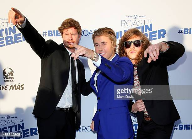 Actor Anders Holm, Justin Bieber and Blake Anderson attend The Comedy Central Roast of Justin Bieber at Sony Pictures Studios on March 14, 2015 in...