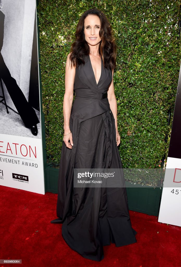 Actor Andie MacDowell arrives at the American Film Institute's 45th Life Achievement Award Gala Tribute to Diane Keaton at Dolby Theatre on June 8, 2017 in Hollywood, California.