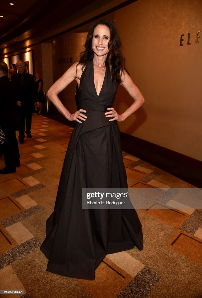 Actor Andie MacDowell attends the reception during American Film Institute's 45th Life Achievement Award Gala Tribute to Diane Keaton at Dolby Theatre on June 8, 2017 in Hollywood, California. 26658_001
