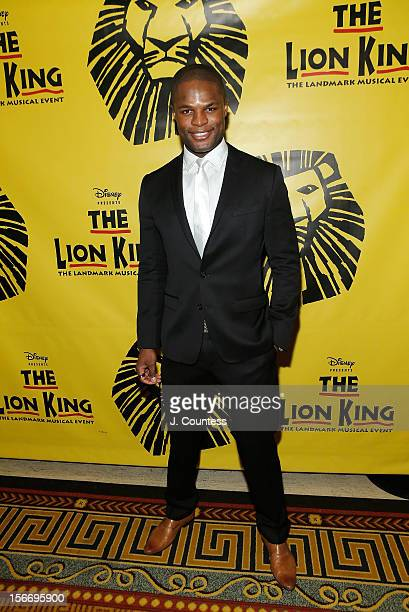 Actor Andile Gumbi attends the afterparty for The Lion King Broadway 15th Anniversary Celebration at Minskoff Theatre on November 18 2012 in New York...