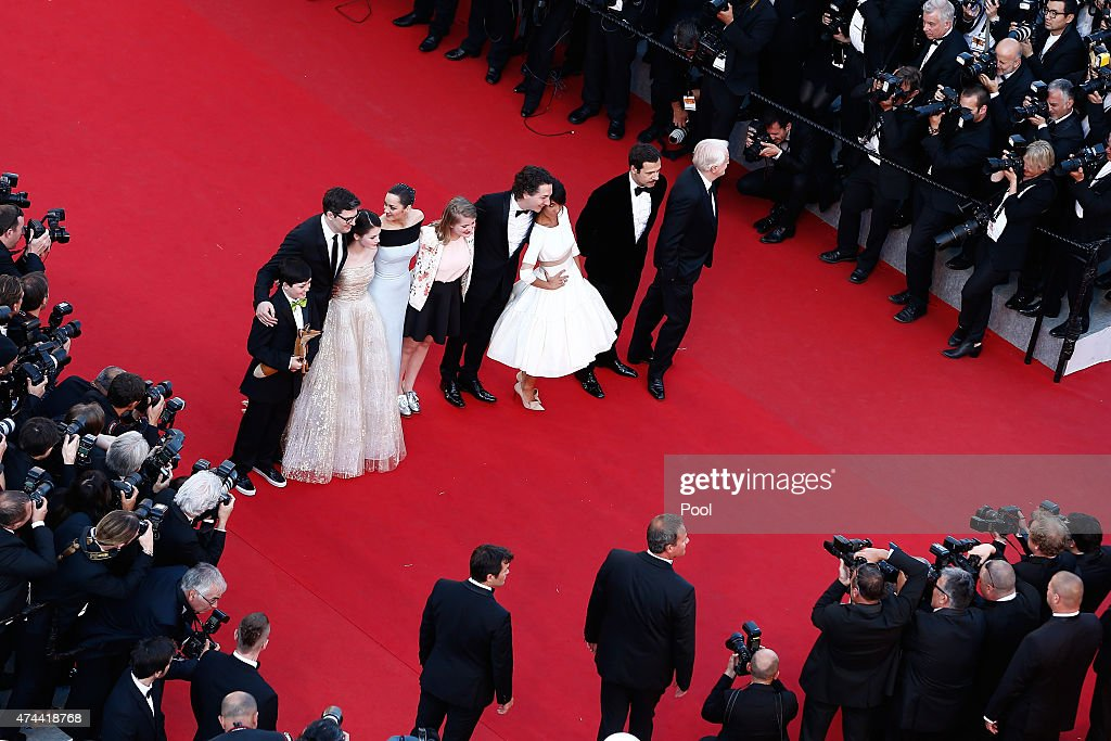 Actor Andre Dussollie, Actor Laurent Lafitte, Actress Florence Foresti, Actor Guillaume Gallienne, Actress Clara Poincare, Actress Marion Cotillard, Director Mark Osborn, Actress Mackenzie Foy and Actor Riley Osborne attend the Premiere of 'The Little Prince' during the 68th annual Cannes Film Festival on May 22, 2015 in Cannes, France.