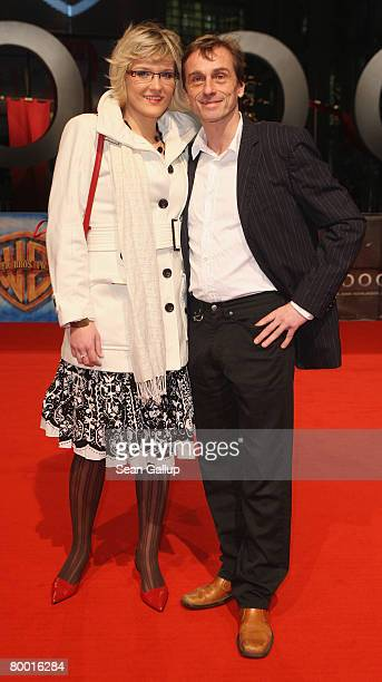 Actor Andre Hennicke and his girlfriend Denise Gebhardt attend the world premiere of 10000 BC at the Sony Center CineStar on February 26 2008 in...