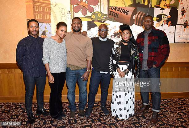 Actor Andre Holland actress Naomie Harris actor Trevante Rhodes director Barry Jenkins actress Janelle Monae and actor Mahershala Ali attend a...