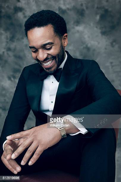 Actor Andre Holland poses for a portrait at the 18th Costume Designers Guild Awards at The Beverly Hilton Hotel on February 23 2016 in Beverly Hills...