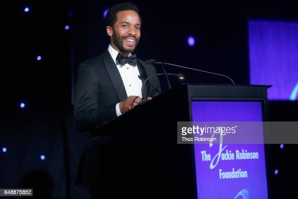 Actor Andre Holland speaks onstage during the Jackie Robinson Foundation 2017 Annual Robie Awards Dinner at Marriott Marquis Times Square on March 6...