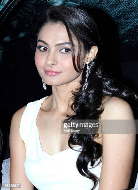 Actor Andrea Jeremiah during the promotion of the forthcoming dual language Tamil and Hindi film Vishwaroopam at a press conference in Mumbai on...