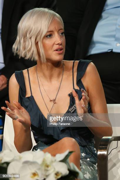 Actor Andrea Riseborough of 'Waco' speaks onstage during the Paramount Network portion of the 2018 Winter TCA on January 15 2018 in Pasadena...