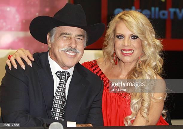 Actor Andres Garcia and TV Personality Lorena Herrera attend Estrella TV's 'Mi Sueno Es Bailar' Season 4 News Conference on March 13 2013 in Burbank...