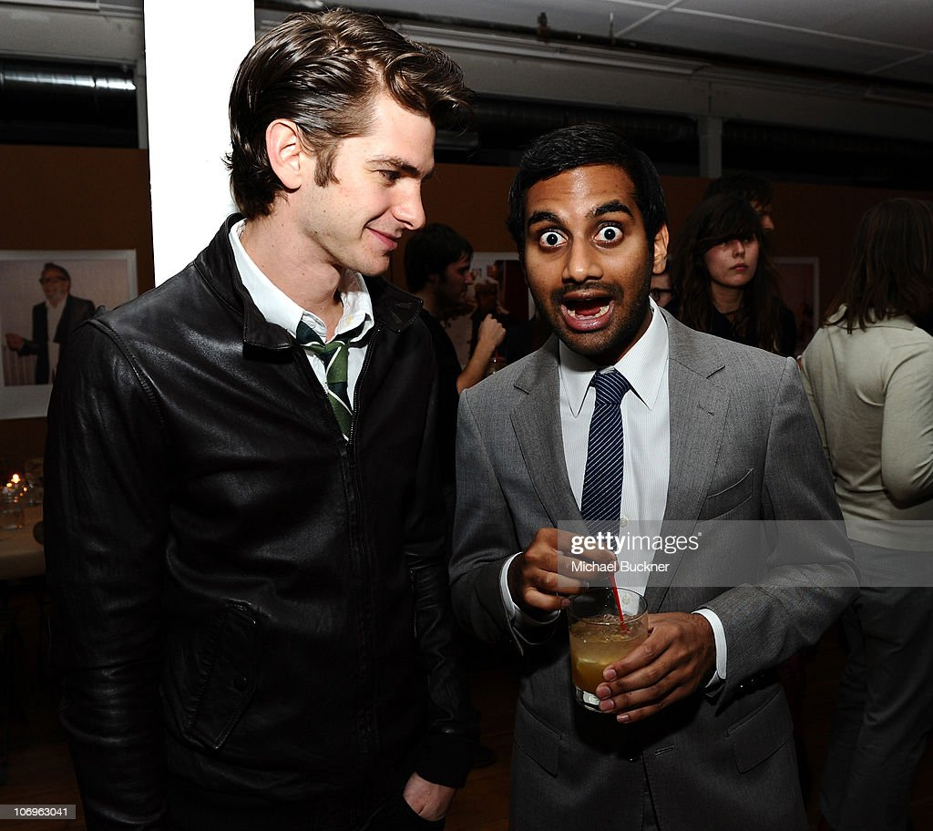 Actor Andrew Garfield (L) and actor Aziz Ansari attend the 'Band of Outsiders' dinner party hosted by Dewars at the Band of Outsiders Loft on November 18, 2010 in Beverly Hills, California.
