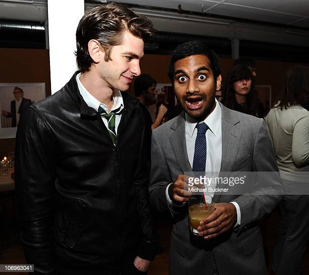 Actor Andrew Garfield and actor Aziz Ansari attend the 'Band of Outsiders' dinner party hosted by Dewars at the Band of Outsiders Loft on November 18...
