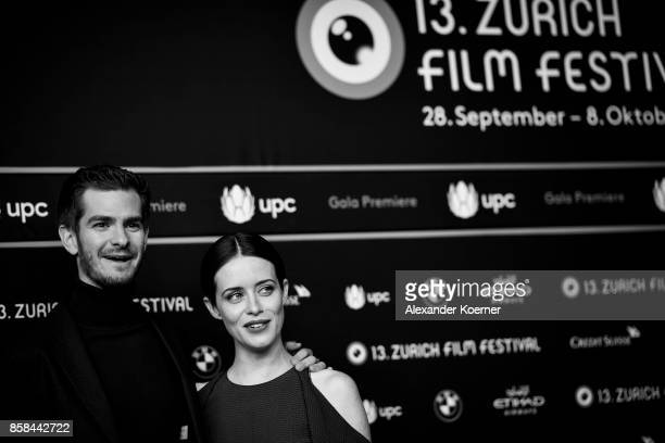 Actor Andrew Garfield and actress Claire Foy attend the 'Breathe' premiere at the 13th Zurich Film Festival on October 6 2017 in Zurich Switzerland...