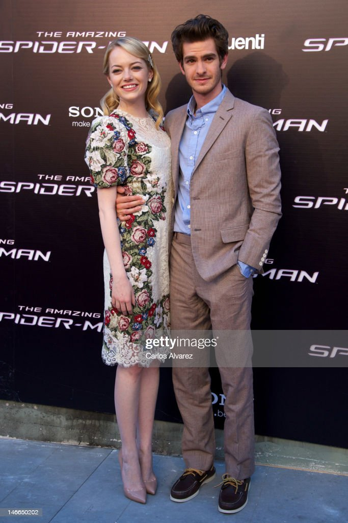 Actor Andrew Garfield and actress Emma Stone attend 'The Amazing Spider-Man' premiere at Callao cinema on June 21, 2012 in Madrid, Spain.