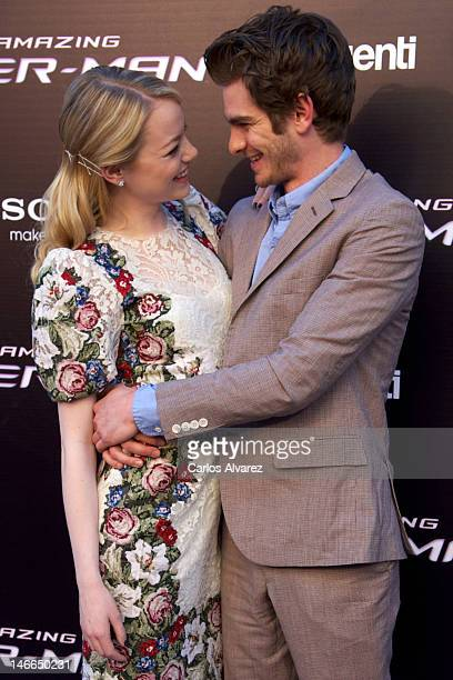 Actor Andrew Garfield and actress Emma Stone attend 'The Amazing SpiderMan' premiere at Callao cinema on June 21 2012 in Madrid Spain