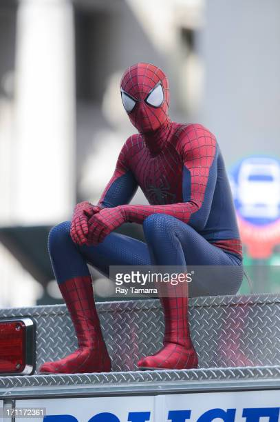 Actor Andrew Garfield at the 'The Amazing Spiderman 2' movie set in Madison Square Park on June 22 2013 in New York City
