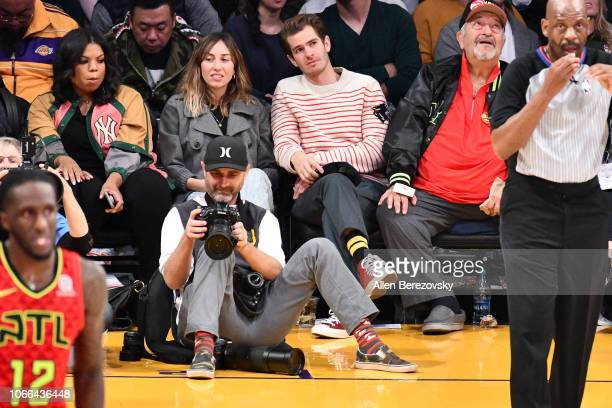 Actor Andrew Garfield attends a basketball game between the Los Angeles Lakers and the Atlanta Hawks at Staples Center on November 11 2018 in Los...