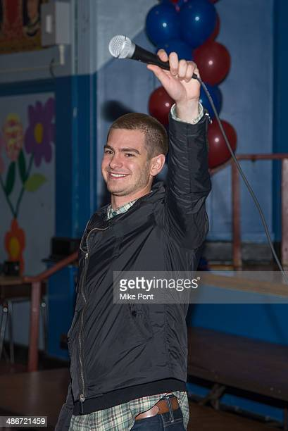 Actor Andrew Garfield attends 'The Amazing SpiderMan 2' Be Amazing Day Volunteer Day at IS 145 Joseph Pulitzer on April 25 2014 in the Queens borough...