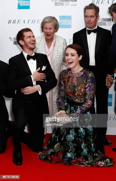 Actor Andrew Garfield Diana Cavendish actress Claire Foy and actor Tom Hollander attend the European Premiere of Breathe on the opening night gala of...