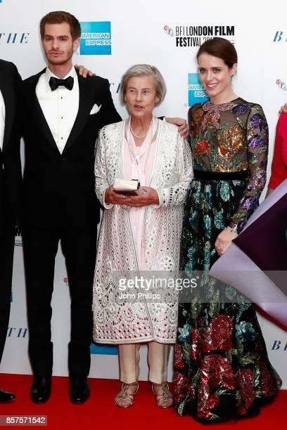"""Actor Andrew Garfield, Diana Cavendish and actress Claire Foy attend the European Premiere of """"Breathe"""" on the opening night gala of the 61st BFI..."""