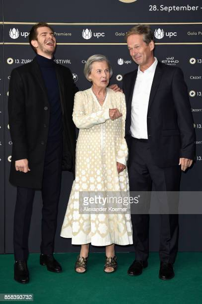 Actor Andrew Garfield Diana Cavendish and Jonathan Cavendish attend the 'Breathe' premiere at the 13th Zurich Film Festival on October 6 2017 in...