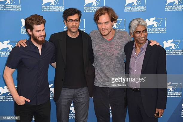 R Actor Andrew Garfield director Ramin Bahrani actor Michael Shannon wearing a JaegerLeCoultre Duometre a Quantieme Lunaire watch and producer Ashok...