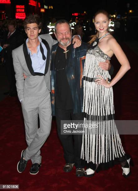 """Actor Andrew Garfield, director Terry Gilliam and actress Lily Cole attend the """"The Imaginarium Of Doctor Parnassus"""" UK film premiere held at the..."""