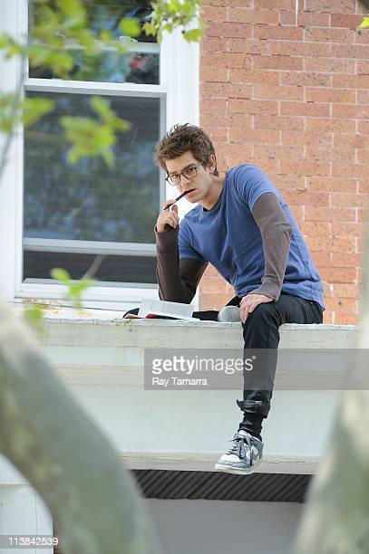 Actor Andrew Garfield films a scene at the 'Amazing SpiderMan' movie set in Windsor Terrace on May 7 2011 in New York City