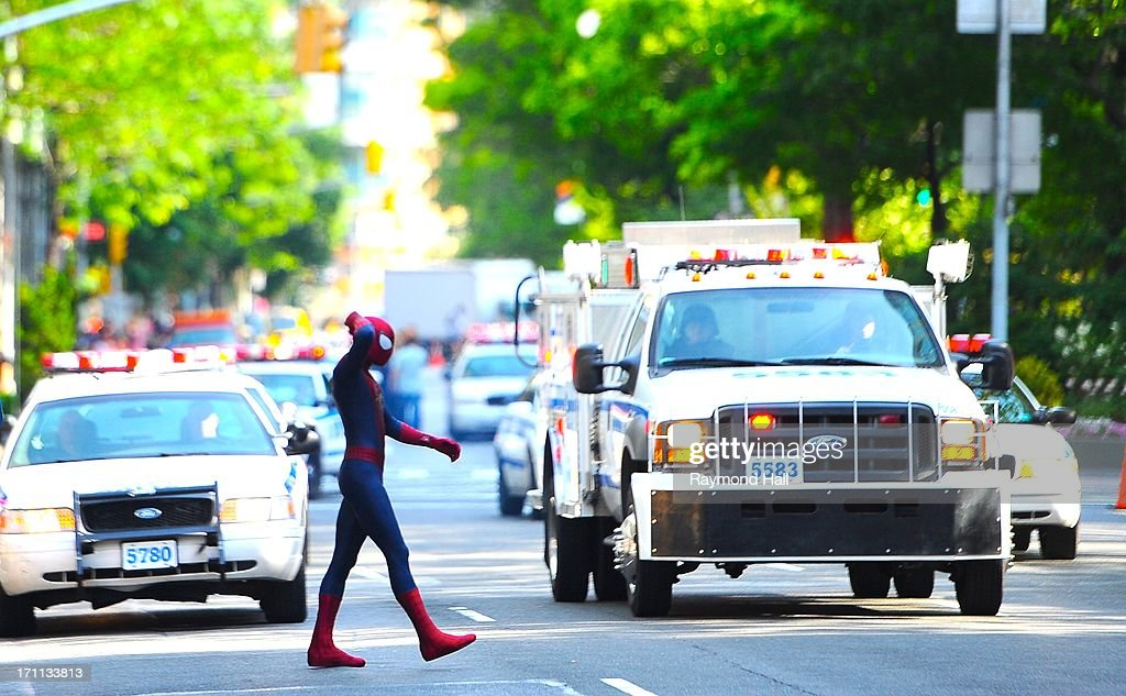 Actor Andrew Garfield is seen on set of 'The Amazing Spider-Man 2' in NYCon June 22, 2013 in New York City.