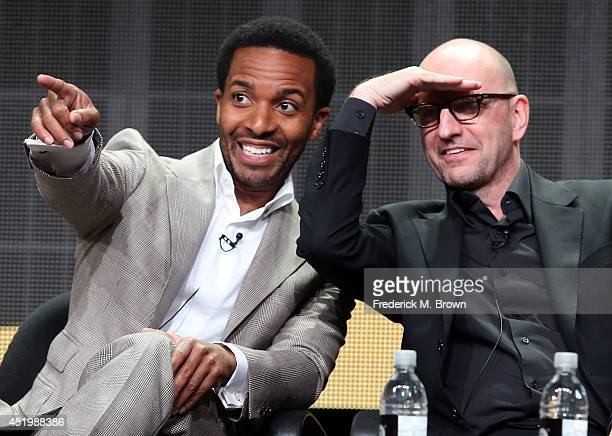 Actor Andrew Holland and director Steven Soderbergh speak onstage at the 'The Knick' panel during the HBO portion of the 2014 Summer Television...